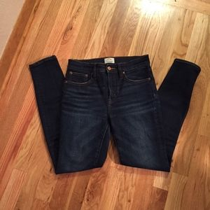 "J. Crew 9"" high rise toothpick jeans, size 26"